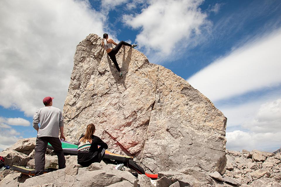 Climbing Prow Boulder - Frank Slide