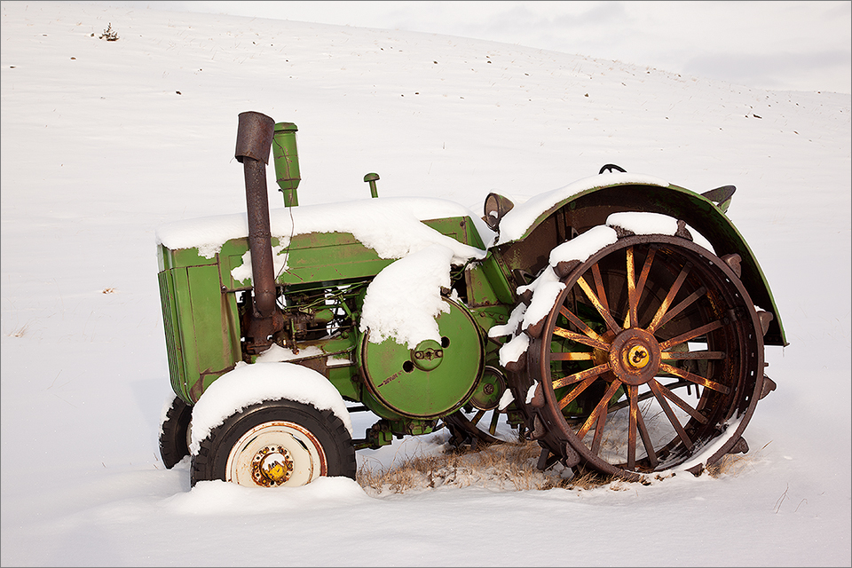 Tractor In Winter Close-Up
