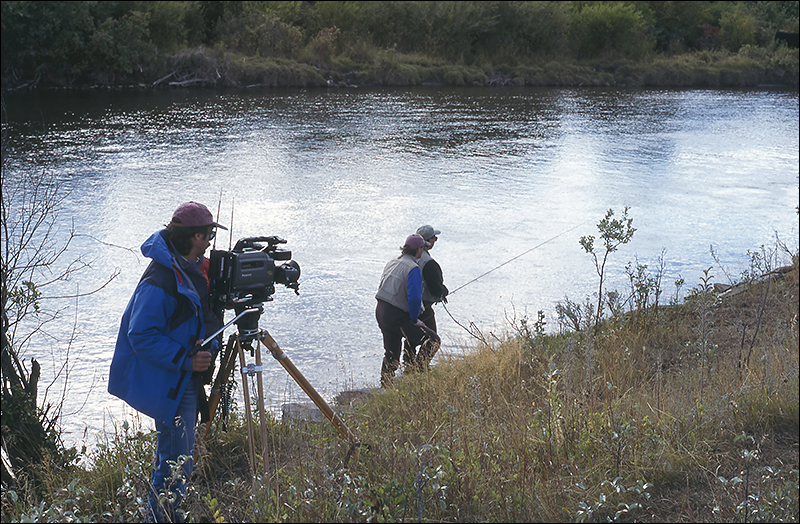 Filming an episode for a television program on Alberta's Crowsnest River