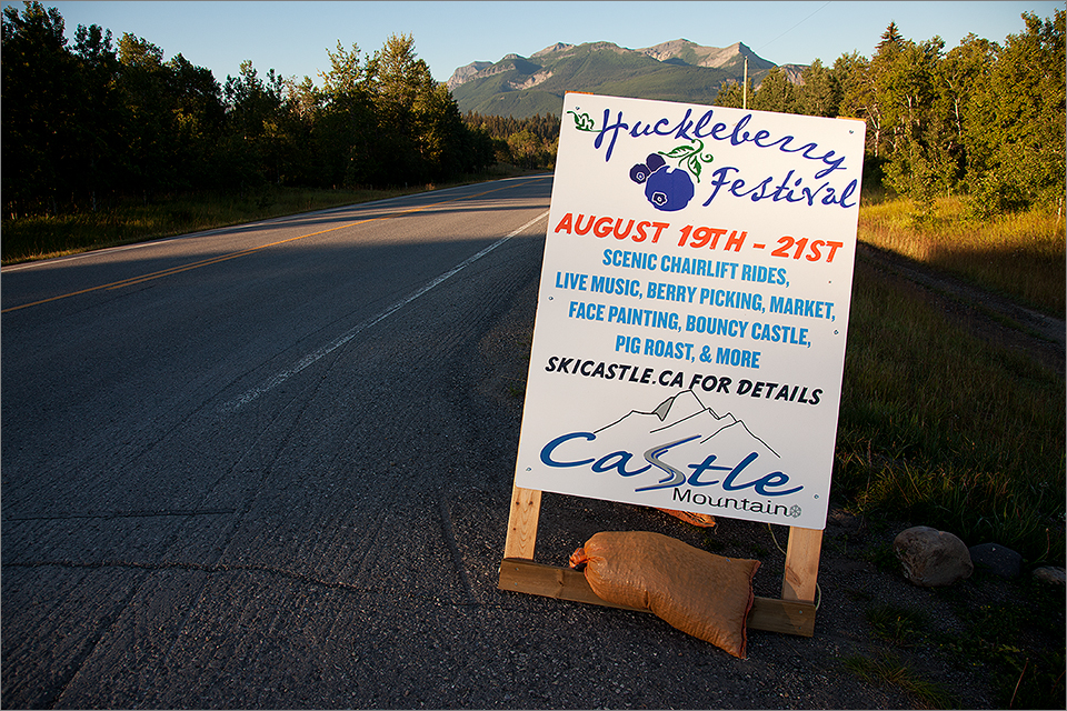 Roadside sign advertising Huckleberry Festival