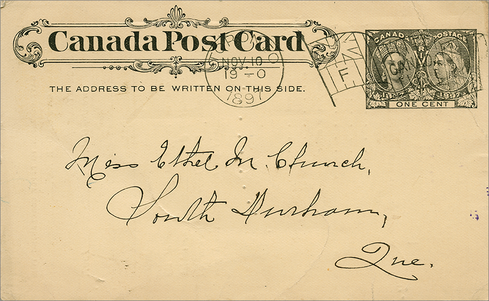 1897 Postal Stationary Card (front view) - T. Eaton Co.