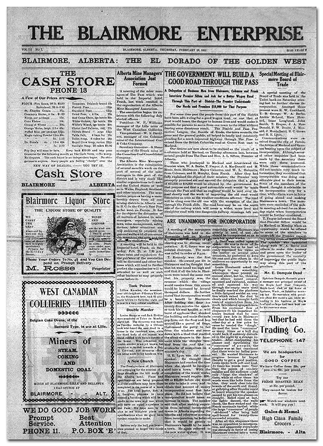 Blairmore Enterprise - 1911