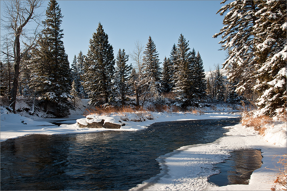Crowsnest River In Winter