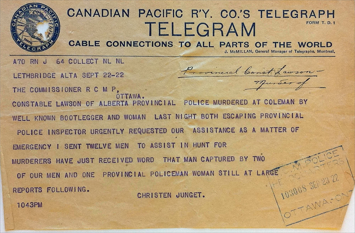 Telegram indicating capture of E. Picariello - September 22, 1922