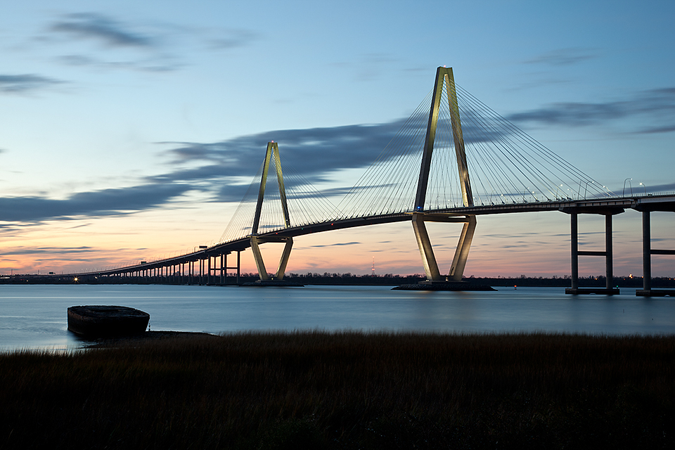 Arthur Ravenel Bridge at dusk