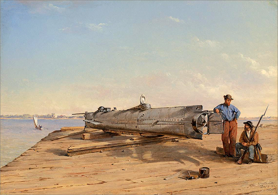 1864 painting of H.L. Hunley submarine by Conrad Wise Chapman